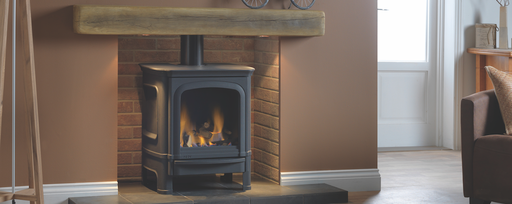 Capital Vega B7 gas stove with light oak Geocast mantel