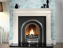 Gallery Collection Lytton highlight with Bartello Agean limestone mantel